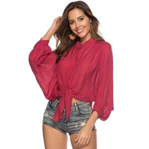 HxMKa Solid color button stand sunscreen bat sleeve coat shirt Bikini collar swimsuit beach blouse P9322