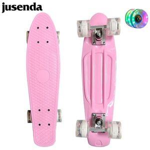jusenda skateboard 미니 longboard 단일 로커 22 '어린이 크루저 스쿠터 파스텔 페니 보드 깜박이 바퀴 베어링 트럭