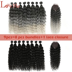 LOVE ME Water Wave Hair Bundles With Closure 20inch Synthetic Hair Ombre Blonde Hair 9Pcs lot Heat Resistant Fiber Q1128