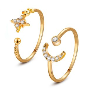 Adjustable Hot Opening Fashion Ring Moon Star Beads With Diamond Gold Ring For Women Classic Copper Finger Jewelry Accessories