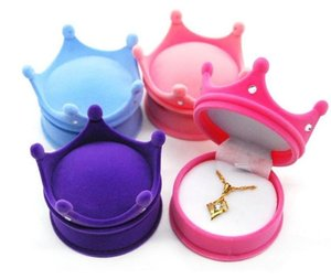 Portable Mini Gift Organizer Anti Rust Plush Crown Shape Rhinestone Rings Ear Studs Box High Grade Flocking Jewelry Case SN2118