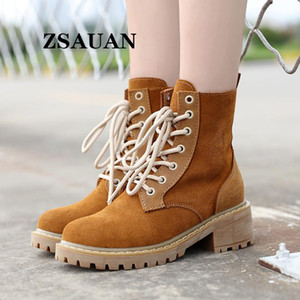 ZSAUAN High Boots Women Outdoor Casual Genuine Leather Suede 5CM Heel Lift Elevator Shoes Fashion Middle Tube Boots Women Brown