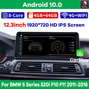 "12.3 ""Snapdragon Android 10.0 Car Multimedia Player GPS الملاحة ل BMW 5 Series 520i F10 F11 2011-2016 فيديو ستيريو راديو"