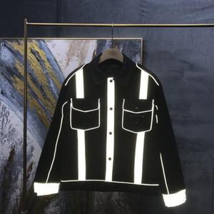Europa America Autunno Giacca in cotone inverno Uomo Donna 3M Riflettente Antivento Antivento caldo Metallo Logo Front Pocket Streetwear Cappotto casual