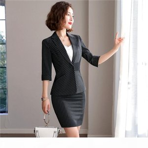 Fashion Women Stripe Blazer Females Casual Skirt Suit Womens Single Button Slim Jacket Female Top and Skirt Suit Ladies Korean Style Set