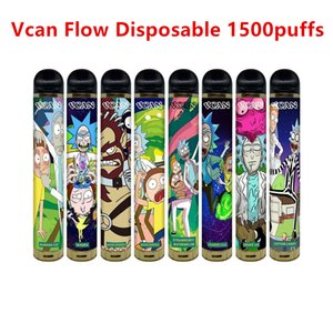Originale VCAN Flow Monouso 1500 Blows Airflow Control Pre-riempito 5ml 600mAh Battery Battery Vape Onee Puff Labs RM Xtra