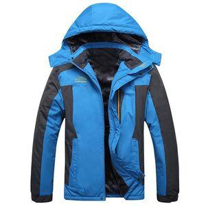 Plus Size Parka Windbreaker Jacket Coat Men Fleece Hiking Winter Jackets Men Warm Hooded Waterproof Climbing Jacket Veste Homme