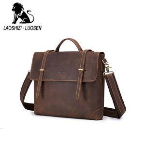 Für Lederband Tasche Crazy Messenger Bag Laptop Aktentasche Laoshizi Men Horse Business School Luogen Supplies NQKIP