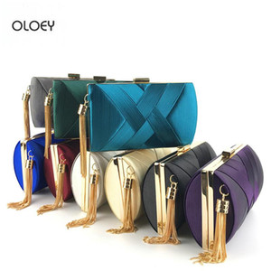 OLOEY New women's clutch bag evening bag satin fashion tassel dress bridal evening banquet shoulder messenger