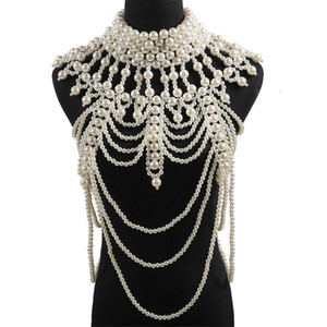 2019 European Multi Layered White Pearl Hyperbole Long Strap Necklace Body Chain Jewelry Ladies Pearl Choker Tassel Fringe Chain