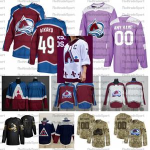 2021 Обратный ретро настроить # 49 Samuel Girard Colorado Avalanche Hockey Jerseys Golden Edition Camo ветеранов день борется в рубашки рака