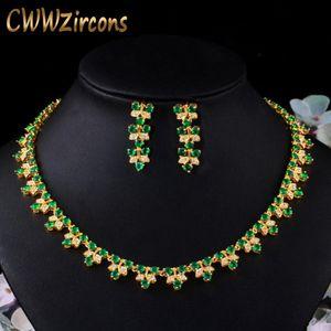CWWZircons Elegant African Nigerian Yellow Gold Color Green Cubic Zirconia Women Wedding Necklace Bridal Dress Jewelry Sets T475 Z1201
