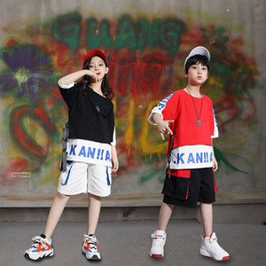Kids Hip Hop Style Clothing Set For Boy Girl Tee Tops + Shorts Hip Hop Clothes Set Unisex Teenager Street Wear Age 4-17 Years Y1117