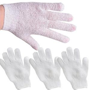 Белый нейлоновый корпус очистки душевые перчатки отшелушивающие ванна перчатка для ванны пять пальцев мыть ванна ванная комната массаж тела перчатки KKF500