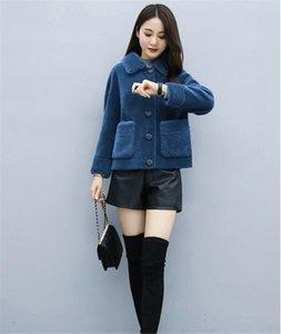 Fashion Autumn Winter Imitation Lambs Wool ONE FUR Women Long Sleeve Single-breasted Jacket Granular Velvet Fake Fur Overcoat Short Tops