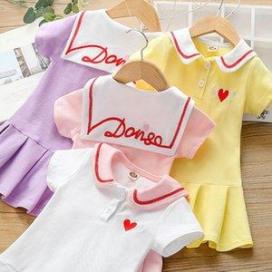 Baby Girl Summer Dress Girls New Love Embroidered Dress Little Girl Casual Short Sleeve Pleated Skirt