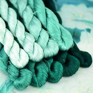 1pcs 400m silk embroidery thread   100% silk thread  hand embroidery embroider cross stitch jadeite green 9 pure colors