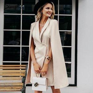 Vintage cloak blazer women dress Office ladies v neck shawl sleeveless dress female Solid celebrity party vestidos