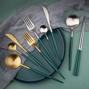 13 Party Chopsticks Dessert Tableware Salad Silver NEW Knife Color Gold Dinner Spoon Flatware 2021 Spoon Set Dinnerwares Piece Gifts HH Vagm
