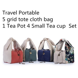 Set Travel Portable Cloth Storage Bag Thicken Tote 1 Pot 4 cup Set Cloth Bag Handmade Cotton Linen 5 grid 1pcs