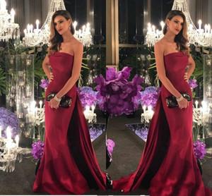 2021 Mermaid Evening Dresses Strapless Sweep Train Long Satin Formal Evening Wear Formal Dress Prom Gowns Robe De Mariee