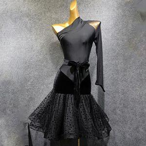 2020 New One Side Sleeve and Shoulder Design Latin Dance Dress Dancing Performance Women Dress Ballroom Samba Tango T030