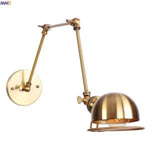 IWHD Ajustável Braço Longo LED Luz de Parede Luminárias Quarto Espelho Escada Vintage Golden Wall Lamp Sconce Wandlamp Applique Murale