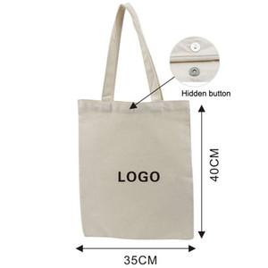 أكياس قماش المحمولة شعار مخصص القطن فارغة القطن القطن صديقة للبيئة حقائب التسوق المصممين حقائب اليد الطباعة مخصصة VTKY227