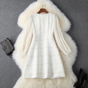 2020 new designer high quality ladies chiffon + woolen dress long sleeve mid-length V-neck fringed A-line dress