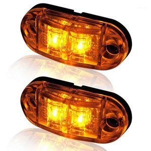 10Pcs Amber 2 Led Light Oval Clearance Trailer Car Truck Side Marker Tail Lamp1