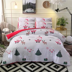 JUSTCHIC 100% Polyester Cartoon Christmas Duvet Cover Pillow Cases Home Decor Children Bed Quilt Cover Santa Claus Bedding Set