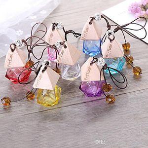 Colorful car perfume bottle car pendant decoration perfume ornament air freshener for essential oils diffuser fragrance empty glass bottle
