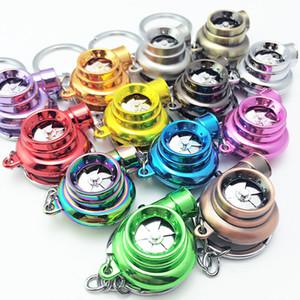 Metal Turbo charger Keychain Creative Multicolor Hot Sleeve Bearing Spinning Turbine Turbocharger Key Chain Ring Keyfob Keyring Key Holder