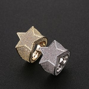Men Copper Iced Out Cz Stones Star Shape Ring Gold Silver Color Plated High Quality Jewelry