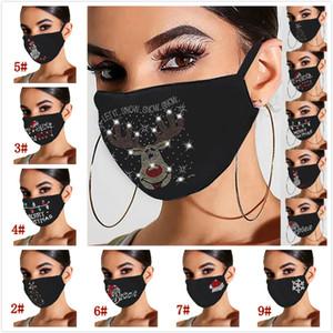 Новое Прибытие Рождественская маска для лица Bling Bling Diamond Дышащая Маска для рта Унисекс Многоразовые Моющиеся Маски для лица Бесплатная Доставка