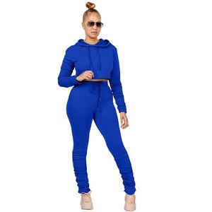 Chándal de mujer Diseñador apilado ocasional Para mujer Conjunto de dos piezas con capucha Soild Womens Fashion Color de la moda