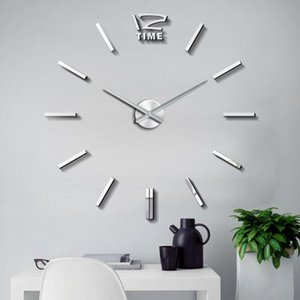 47 inch Large 3D Wall Clock Watch 3D DIY Clocks Silent Acrylic Mirror Stickers Living Room Decor Quartz Needle Modern Design