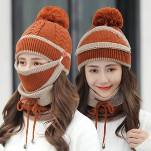 Cycling hat female Winter Beanie Hat Scarf and Mask Set 3 Pieces Knitted Hat Neck Thick Knit Hats Warm scarfs Skullies Beanies Cap