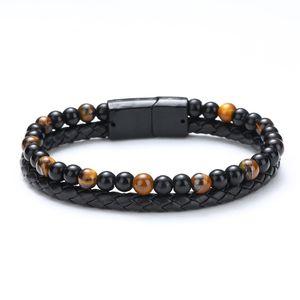 Fashion Men Natural Stone Genuine Leather Bracelet Black Stainless Steel Magnetic Clasp Tiger eye Bead Bracelet Men Jewelry