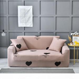 Corazón elástico Sofá cubrir dos y cuatro asientos Sala de estar moderna de fundas de muebles estiramiento en forma de L de la esquina del sofá de la cubierta