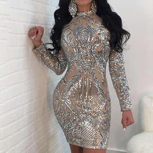 Sexy Sequined Dress Spring Cotton Print Stand Neck Slim Long Sleeve Above Knee Mini Pencil Dress Womens Sexy Nightclub Style