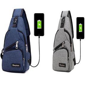 30pcs Shoulder Bag Men USB Chest Large Capacity Crossbody Bags Women Charger Cycling Bags 4 Colors
