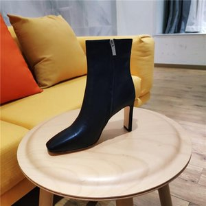 Winter leather boots with thick heels,Fashion Womens sexy calfskin boots ,Trend Italian leather outsole non-slip wear resistant shoe sole