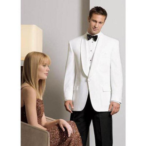 White Groom Tuxedos Shawl Lapel One Button Groomsmen Wedding Suits For Mens Bespoke Custom Made Suits A0195