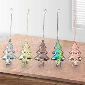 Stainless Steel Tea Infuser Christmas Tree Tea Strainer Hanging Style Vanilla Coffee Diffuser Filter Christmas Gifts