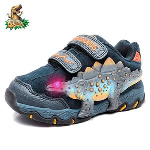 Dinoskulls Baby Children Autumn Shoes LED Glowing Sneakers 3 Boys Toddler Trainer Dinosaur Fashion Kids Genuine Leather Shoes Z1127