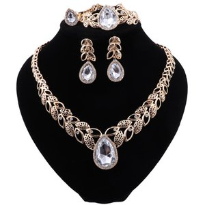 Dubai Gold Color Bridal Jewelry Sets for Women Bracelet Earrings Wedding Party Crystal Necklace Ring Jewelry Sets