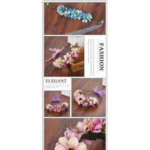 Haimeikang 수제 인공 꽃 여성 소녀 공주 크라운 머리띠 결혼식 신부 패브릭 꽃 베일 머리 화환 Jllzvf