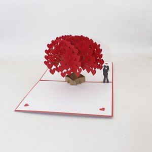 3D Laser Cut Handmade Love Heart Tree Paper Invitation Greeting Cards PostCard For Valentine's Day Wedding Party