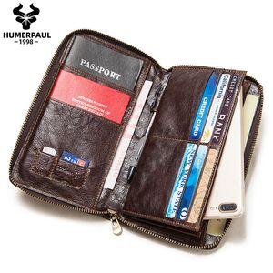 New Passport Travel Men Wallet Cuero Multifunción Titular de la Tarjeta de Crédito Embrague ID Documento Multipar Card Calidad Teléfono